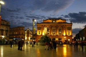 Montpellier's magnifiicent opera house lit at night