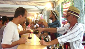 Wine tasting at les estivales in the south of France